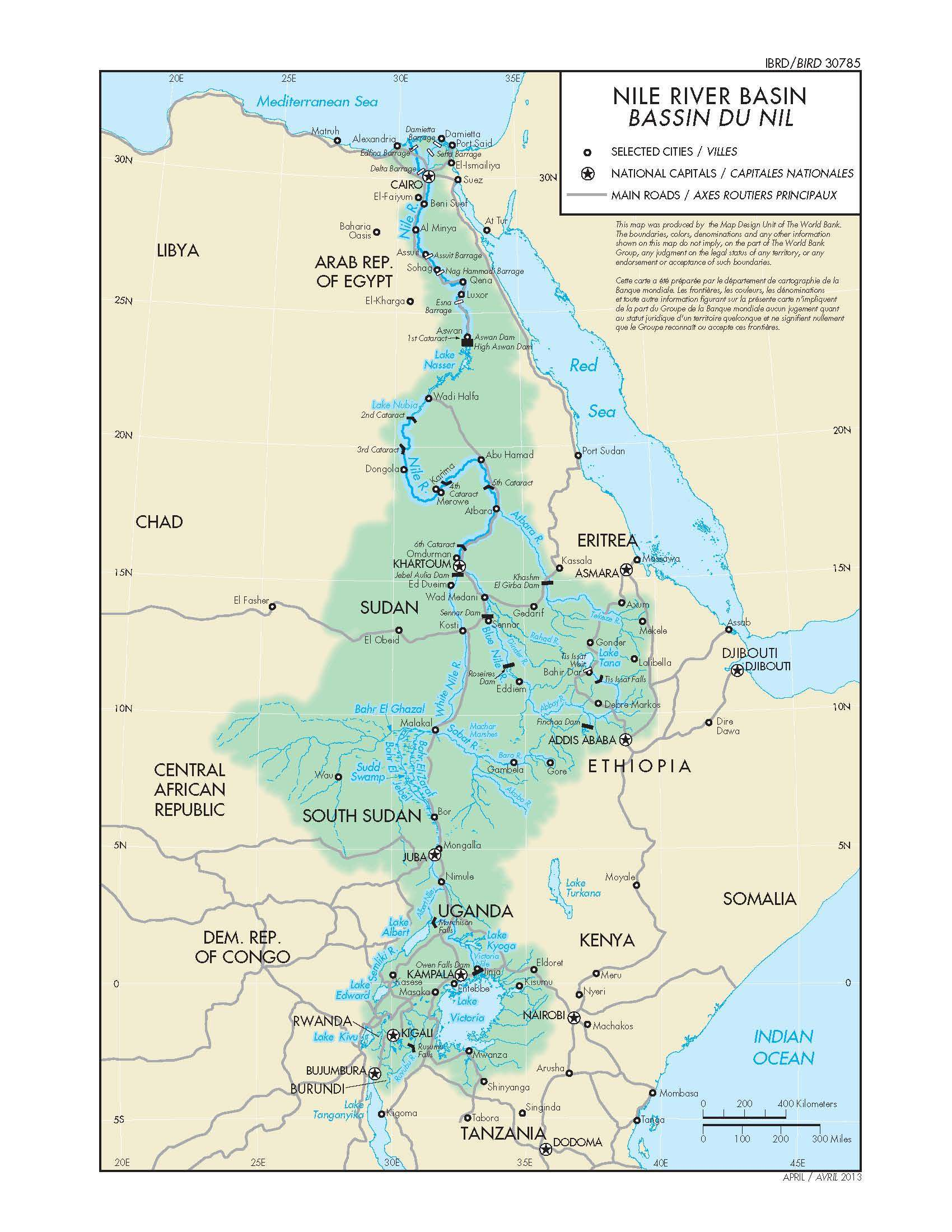 Map of the Nile Basin, World Bank, 2013